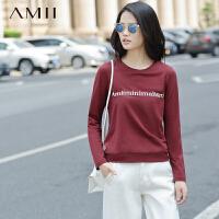 AMII[极简主义] 2017年春装新品立体印花套头长袖大码T恤女11642108