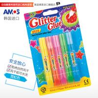 AMOS 韩国进口GNE10B5 5色闪光胶( 霓虹色) DIY儿童金粉笔贺卡相框画笔手工金粉胶画笔 当当自营