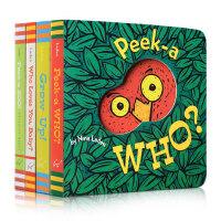 宝宝的躲猫猫游戏洞洞书 猜猜我是谁4本纸板书套装 peek a zoo peek a grow up亲子启蒙游戏peek a who