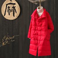 韩版文艺范宽松立领纯色中长款过膝羽绒棉棉衣外套女冬季