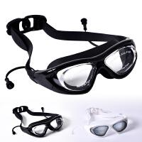 男女游泳近视泳镜女士防水防雾带连体耳塞一体式男士高清潜水透明