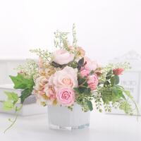 餐桌花艺真 玫瑰仿真花束带假花瓶客厅装饰高品质小饰品摆件ins北欧餐桌花艺