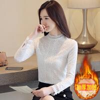 高领蕾丝加绒打底衫女2018秋冬装新款韩版加厚保暖长袖T恤上衣服