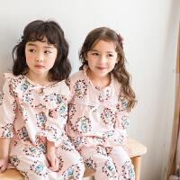 夏季小女孩儿童家居服中小童薄款可爱睡裙女童睡衣