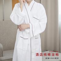 纯棉浴袍毛巾料酒店浴衣男女情侣春夏季薄全棉和服华夫格睡袍 L