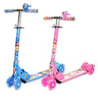 折叠滑板车4轮三轮减震 2-6岁调节踏板车四轮闪光踏板车 加宽