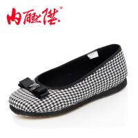 内联升女鞋布鞋女千层底格呢海元千鸟格休闲时尚鞋 老北京布鞋 8706A