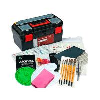 马利牌24色水粉颜料工具箱套装 调色盘+水粉画笔套装+海绵+水粉纸 初学者水粉工具套装