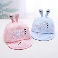 婴儿太阳帽男童帽子儿童鸭舌帽夏季薄款女宝宝可爱网眼遮阳帽