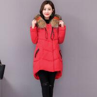 新款棉衣女中长款大码女装加肥胖mm胖妹妹200斤冬装外套 大红色 尺码偏大请按照体重