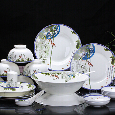 【优选】景德镇碗盘餐具套装中式家用碗碟釉中彩餐具56/28头骨瓷餐具