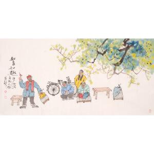 马海方《知音知趣》人物 国画 精品 装饰 送人字画的佳品