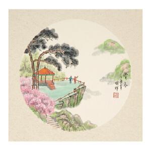 于国辉《赏春》卡纸 直接装框即可 山水 国画 精品 装饰 送人字画的佳品