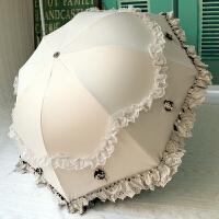 太阳伞女线蕾丝 太阳伞女外线黑胶睛雨伞韩版折叠蕾丝公主洋伞两用遮阳伞L+ 米白色 --立体花朵公主伞
