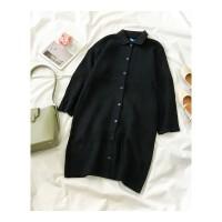 秋冬装新款女装韩版polo领毛衣裙子单排扣连衣裙 均码