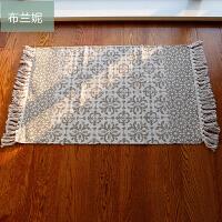 花纹黑白灰几何线条地垫流苏挂毯地毯进门垫门厅垫ins定制