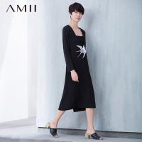 Amii[极简主义]夏秋新款大码装V领长袖裙连衣裙