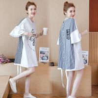 孕妇装夏装2018新款韩版时尚中长款短袖上衣夏季棉麻孕妇连衣裙子