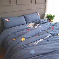 儿童四件套纯棉 男孩全棉水洗棉火箭船1.8m1.2米床三件套床上用品定制