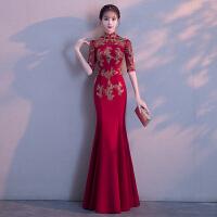 中式新娘敬酒服2018新款秋冬季红色长款鱼尾修身旗袍结婚礼服裙女 B8026酒红色