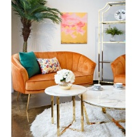 【品牌特惠】北欧沙发小户型美式轻奢二人布艺服装店小沙发网红款