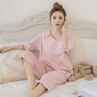 月子服夏季透气大码V领短袖哺乳睡衣 孕妇产后喂奶条纹外穿家居月子服套装夏ZT-08 粉红色 X