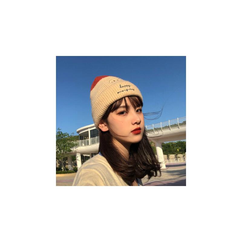 帽子女冬天针织护耳毛线帽保暖加绒韩版潮百搭字母笑脸骑车套头帽