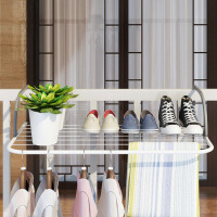 窗气台折叠晾衣架窗外晒衣架阳台挂衣晾晒架室内暖片晒鞋架伸缩杆