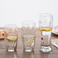 锤纹玻璃水杯子个性啤酒杯 耐热饮料杯复古纹理西餐厅冷饮杯