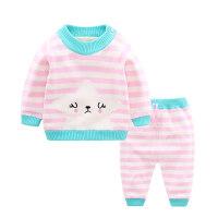 婴儿毛衣套装秋冬装婴儿毛衣女0-1-3岁宝宝男加绒保暖套装婴幼儿洋气毛线衣厚MYZQ77
