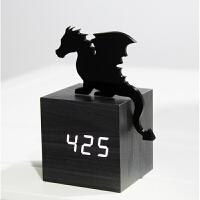 时尚创意3D立体飞龙LED钟声控木头钟电子钟卧室床头钟学生座钟夜_飞龙在天_6英寸