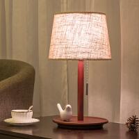 【品牌特惠】北欧台灯卧室简约现代美式创意结婚复古温馨日式实木质小床头柜灯