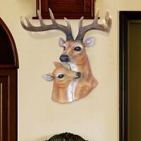 北欧家居装饰品麋鹿头壁挂饰招财仿真母子鹿墙饰客厅墙面装饰挂件