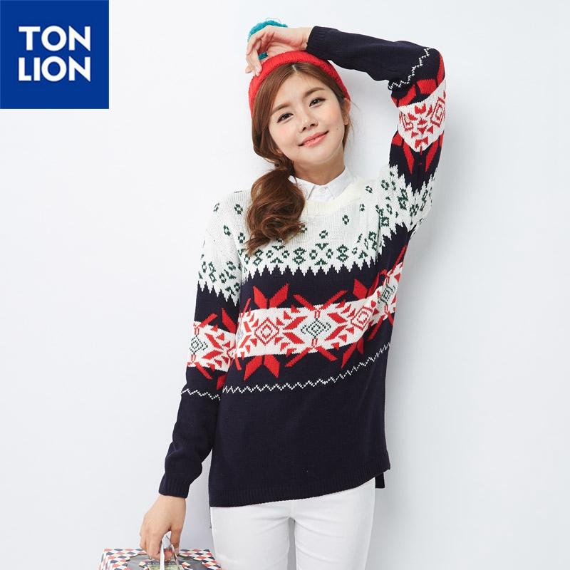 【2件1.5折】唐狮冬款女圆领圣诞系列提花毛衫 仅限11.11日
