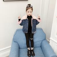 女童外套加绒秋冬装儿童洋气女孩牛仔上衣潮童装