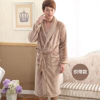 秋冬季法兰绒情侣睡袍男士女士浴袍珊瑚绒加厚长袖睡衣家居服浴衣定制 是均码