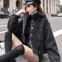 牛仔外套女秋冬季新款羊羔毛绒短外套加绒加厚短款夹克 黑色