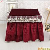 新品新款毛绒加厚电炉罩正方形揭盖烤火炉套麻将机桌取暖罩被冬季定制 酒红色 裙式