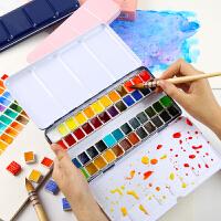 鲁本斯固体水彩颜料24色透明珠光色初学者36色水彩画套装固体水粉