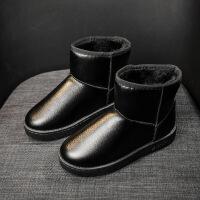 冬季新款保暖防水皮面短筒雪地靴女加厚加绒平底短靴棉鞋