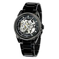 2018年新款 艾奇 EYKI 机械表 个性休闲手表 时尚钢带表 镂空男表 全黑 8498