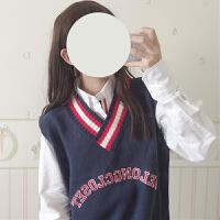 春季韩版宽松字母刺绣撞色V领无袖针织马甲女学院风外搭毛衣背心