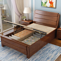 实木单人床1.2 1.35 1米小户型高箱储物床现代中式1.5m经济型 1500mm*1900mm 箱框结构