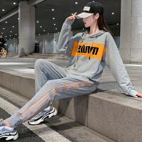 2020女士休闲运动跑步服韩版连帽印花卫衣秋季新款街头风时髦套装