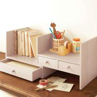 创意文具 可伸缩实木无漆小书架 办公桌收纳层架 木艺简易桌上书柜书架 儿童桌面收纳