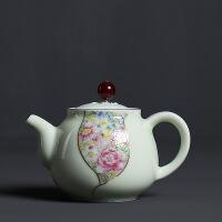 青瓷茶壶 珐琅彩泡茶壶 大号家用功夫茶具 陶瓷手柄泡茶壶套装