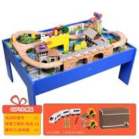 【益智玩具】儿童木质火车轨道带桌子城市游戏桌电动托马斯木制轨道车玩具套装 音乐房轨道 送和谐号组 官方标配