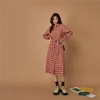 【品牌直降价:273元】七格格OtherMix复古格子连衣裙女2021年早秋季新款时尚设计感衬衫长裙子