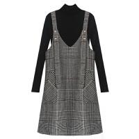 连衣裙女冬季新韩版高领打底针织衫两件套粗呢格子背带裙套装 黑色