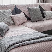 欧式沙发垫滑黑白斜纹简约现代棉布艺组合客厅坐垫G定制